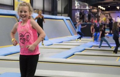 girl smiling oxygen freejumping trampoline park