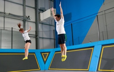 gymnasts jump on trampolines at oxygen freejumping