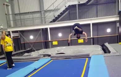 front flip into an airbag