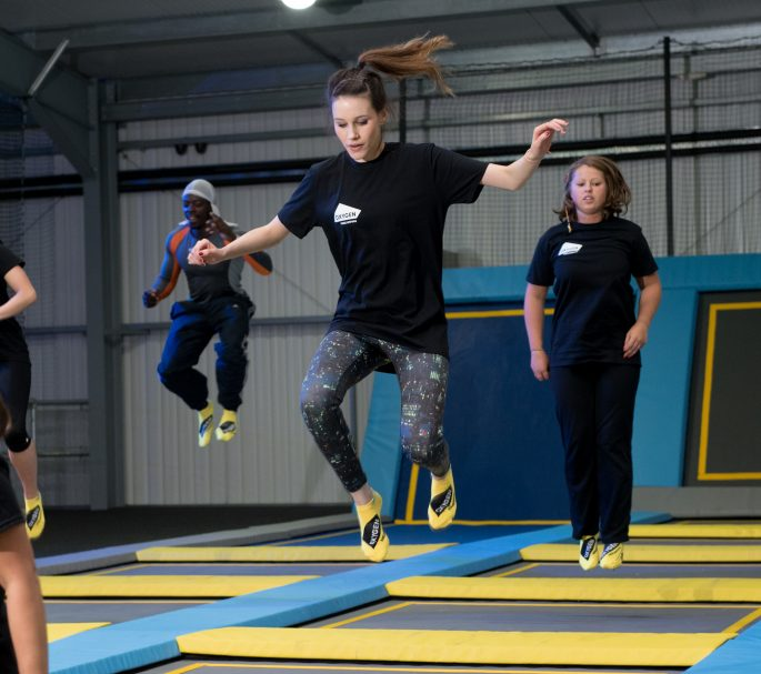 Fitness class at trampoline park
